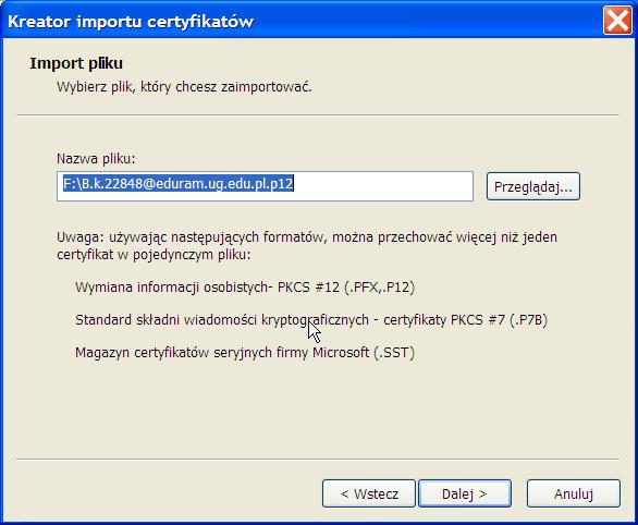 instalacja certyfikatu prywatnego - Win XP - krok 2.