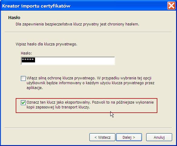 instalacja certyfikatu prywatnego - Win XP - krok 3.
