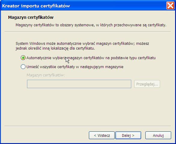 instalacja certyfikatu prywatnego - Win XP - krok 4.