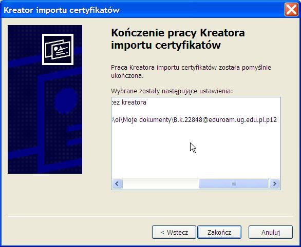 instalacja certyfikatu prywatnego - Win XP - krok 5.