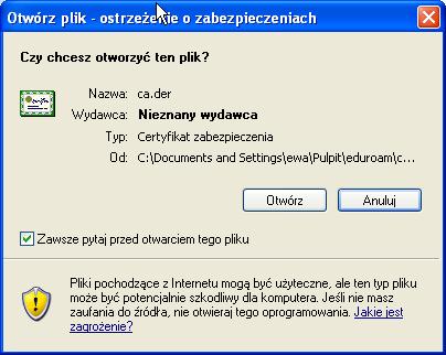 Instalacja certyfikatu publicznego wWindows XP - krok 1.