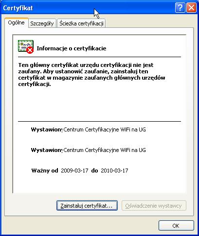 Instalacja certyfikatu publicznego wWindows XP - krok 2.