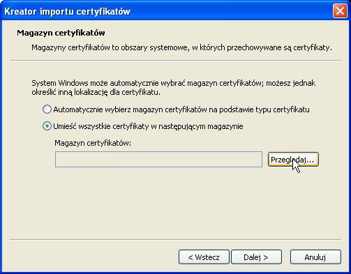 Instalacja certyfikatu publicznego wWindows XP - krok 4.