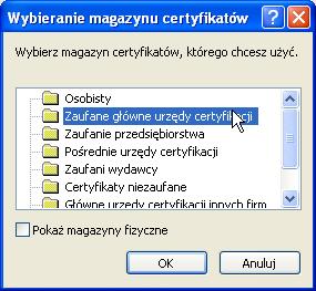 Instalacja certyfikatu publicznego wWindows XP - krok 5.