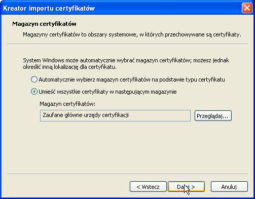 Instalacja certyfikatu publicznego wWindows XP - krok 6.