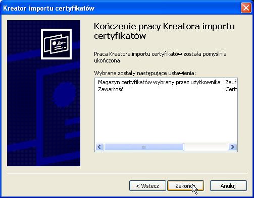 Instalacja certyfikatu publicznego wWindows XP - krok 7.