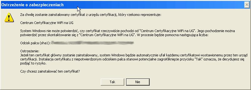 Instalacja certyfikatu publicznego wWindows XP - krok 8.