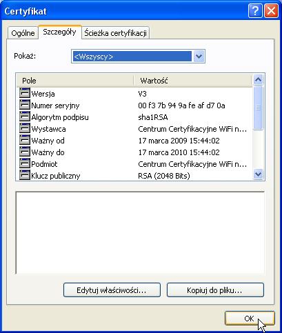 Odinstalowywanie certyfikatów wWindows XP. Krok 4. 2. Upewniamy się, żeto właściwy certyfikat.