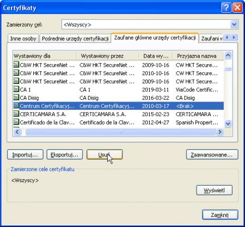 Odinstalowywanie certyfikatów wWindows XP. Krok 4. 3. Usuwanie certyfikatu.