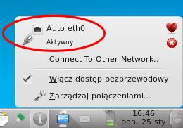 Zrzut ekranu przedstawiający menu KNetworkManager zzaznaczonym połączeniem kablowym