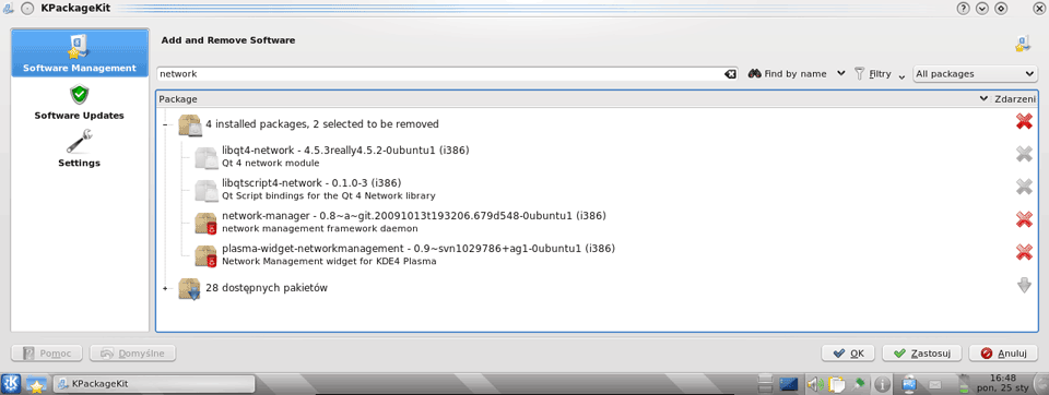 Okno KPackageKit zzaznaczonymi dodeinstalacji pakietami NetworkManagera
