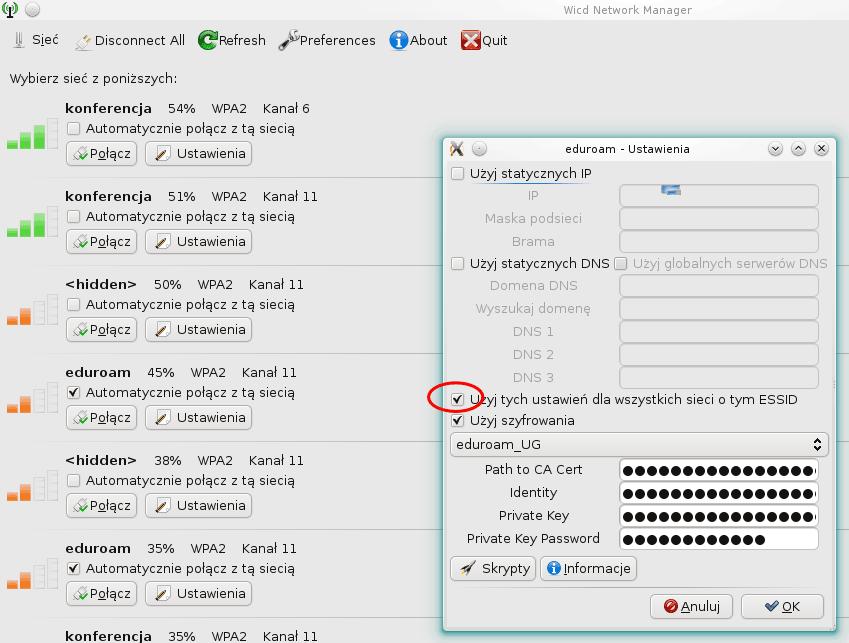 Zrzut ekranu zoknem konfiguracji sieci